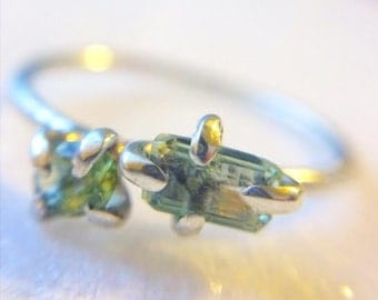 BLUE & GREEN TOURMALINE and silver ring