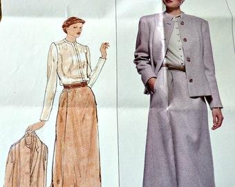 1970's Vogue Pattern Pierre Balmain Designer 2201 Jacket, Skirt, Blouse Size 10 Women