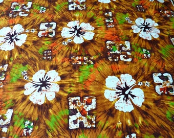 Hawaiian Print Fabric Yardage Brown Orange, White Flowers 1970's,  2.5 Yards