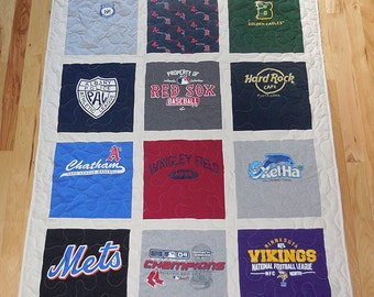 12 T-Shirt Memory Quilt With Sashing *** FREE SHIPPING *** Superior Work *** Quick Turn Around