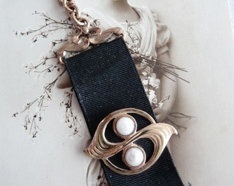 Victorian Black Silk Ribbon Fob ~ Rose Gold Filled 800 Silver with Pearls ~ Hungarian Hallmark on Dog Clip