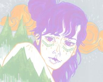 Purple | 11 x 14 in. art print | hipster fashion pastel grunge goth illustration