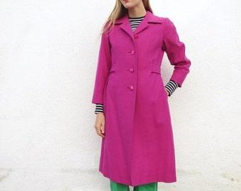 Wool Jacket Coat Fuchsia 60s S