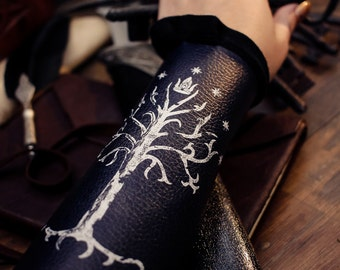 Bracers aragorn vegan Bracelets gondor black white tree Cuffs Gauntlets Vanguards Cosplay Costume vegan leather