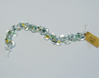5, YELLOW/GREEN, Limited Edition, (#td-137) (ub69), Unicorn Beads, Teardrop Beads, Boro Glass Beads, Lampwork, Handmade Beads