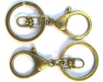 10 pcs. Antique Bronze Lobster Swivel Clasp and Key Ring - 69 x 30mm (2.72 inch) - Claw Clasps