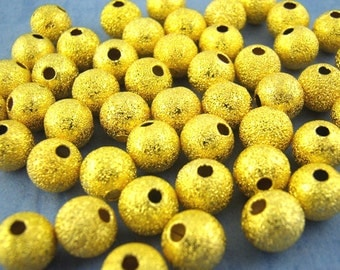6mm - 150pcs. Gold Plated Stardust Ball Spacer Beads