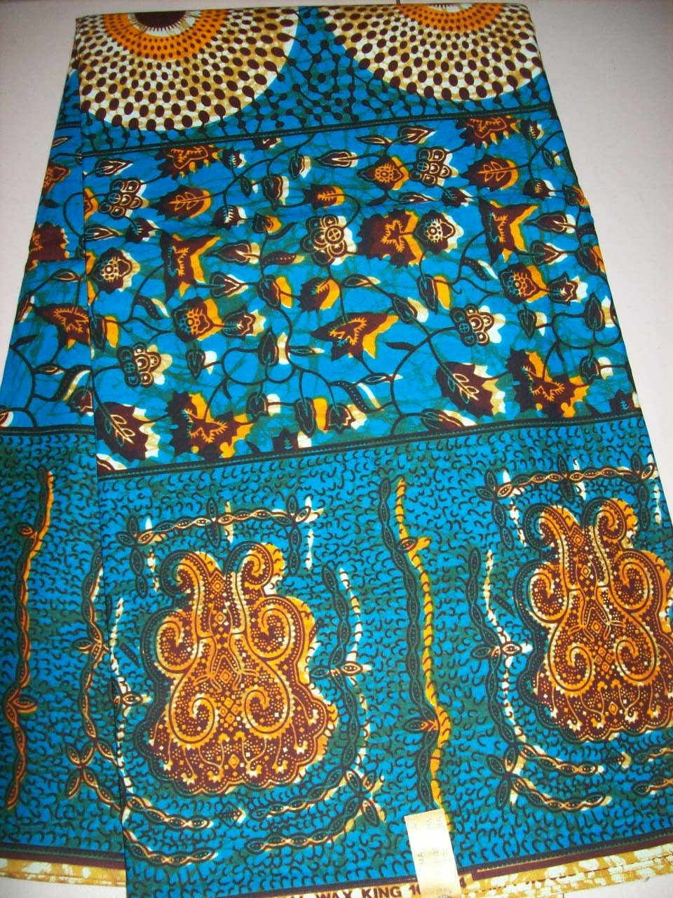 6 yards turquoise blue and orange african print fabric. Black Bedroom Furniture Sets. Home Design Ideas