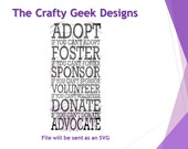 Adopt Foster Sponsor Volunteer Donate Advocate SVG File