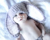 3 to 6m Baby Hat, Baby Bunny Hat, Grey White Bunny Rabbit Hat Bunny Ears Easter Hat, Crochet Bunny Beanie, Photograpy Prop, Easter Gifts