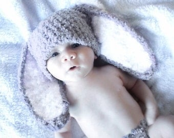 SUMMER SALE 3 to 6m Baby Hat, Baby Bunny Hat, Grey White Bunny Rabbit Hat Bunny Ears, Crochet Bunny Beanie, Photograpy Prop  Costume Gift