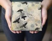 Birds Overhead, Silhouette Mixed Media Original Bird Art, Graphic Black, Gray and White Art, Abstract Art