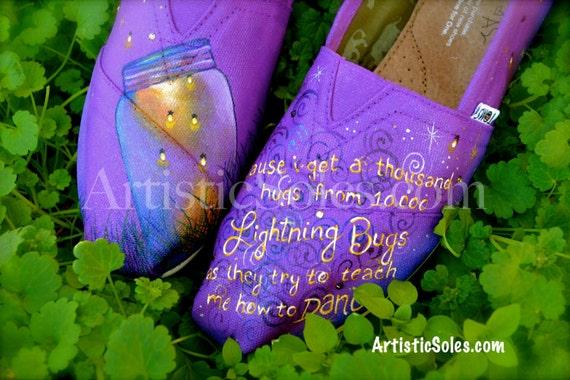 Custom Hand Painted TOMS Shoes - Summer Evening Fireflies