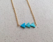 Turquoise triangle geometric charm necklace on 18k Gold Filled chain / choose your necklace size / FREE gift wrapping