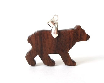 Rustic Bear Totem Necklace Wood Animal Pendant Bear Jewelry Woodland Hand Cut Scroll Saw Walnut