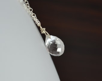 Rock Crystal Necklace, Sterling Silver, Genuine Gemstone, April Birthstone, Crystal Quartz Jewelry