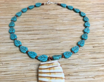 Turquoise & Copper Shell Pendant Necklace