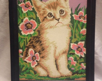Vintage Kitty Cat Paint by Number with Frame