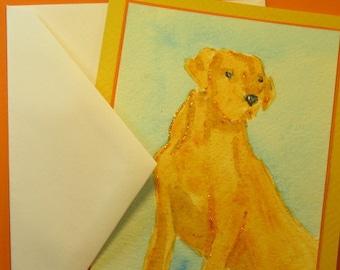 YELLOW LAB DOG Note Card, Original Handmade Watercolor (Blank Inside)