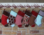 Pick Any 5 Plush Stockings.  Set of FIVE Personalized Christmas Stockings with Embroidered Name Tags.  SALE.