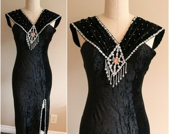 Vintage Black Crushed Velvet Sequin & Beaded Fringe Detail Party Dress - Size XS