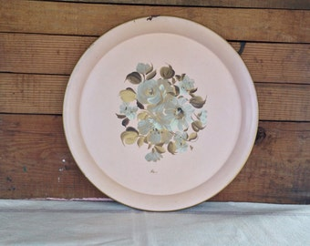 Vintage Antique 1940's Pink and Gold Tole Floral Tin Serving Tray