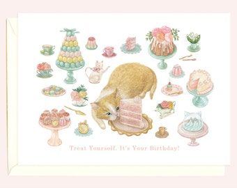 High Tea Kitty Birthday Card (Ginger and White Cat)