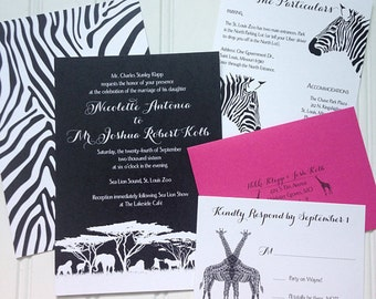 Wedding Invitations - Zoo Invitations/Safari Invitations/Africa Collection