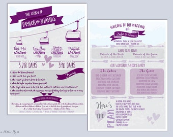 Wedding Program Ski Themed-The Story of Us/Personalized/Customized/Fun/Modern/Graphics/Chairlift/Mountain/Resort