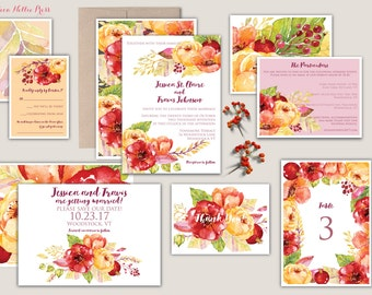 Fall Floral Watercolor Wedding Invitations - Floral/Garden/Autumn - Rustic