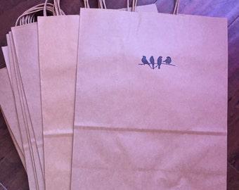 Kraft paper gift bag w/ birds on branch detail