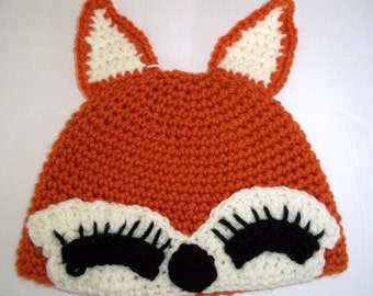 Hand Crocheted Childs Fox Cap
