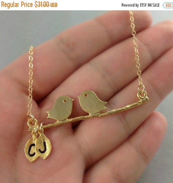 WEEKEND SALE Monogram Necklace, Love Birds On A Branch, Initial Leaf Necklace, Mothers Day, Customize  Bridesmaids Jewelery, Personalized Gi