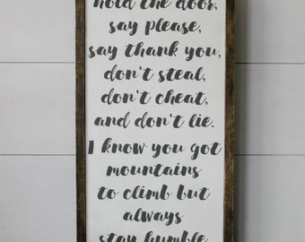 Always Stay Humble and Kind Lyrics - wood sign - framed
