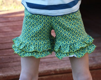 12.99 SALE green and royal blue diamond print knit double ruffle shorts shorties bloomers sizes 12m - 14 girls