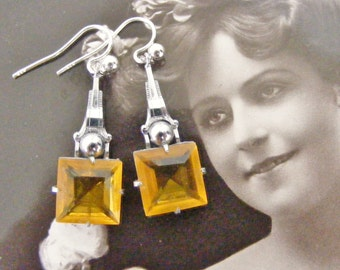 Art deco yellow faceted czech glass drop earrings on sterling wires