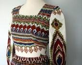 Vintage Dress / Bohemian Maxi Dress / 60s 70s Graphic Print Dress / Small