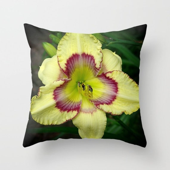Soft Yellow Decorative Pillows : Daylily throw pillow cover soft yellow and violet flower all