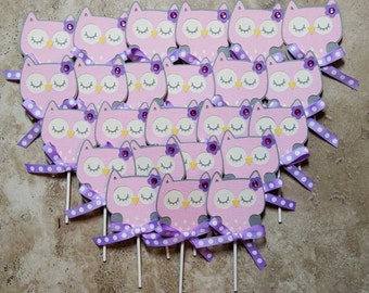 Pink grey owl with lavendar ribbon cupcake toppers- 24 pack pink
