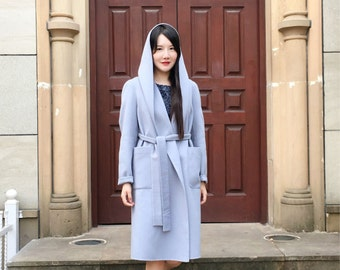 Classic Style Double Sided Wool-cashmere Blend Long Jacket/ Big Hoodie Winter Coat with Belt/14 Colors / RAMIES