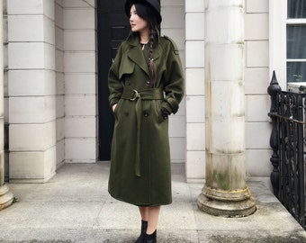 Military Style Heavy Coat/ Double- Faced Cashmere and Wool Blend Long Jacket with Belt / Wide-lapel Trench Coat/Winter Coat /7 Colors