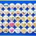 """35 Emoji Emoticon Pins, Magnets, or Flatbacks. 1"""" Round Mini Buttons Badges Set. Smiley Face, Angry, Poo, Thumbs Up, Heart, Ect. (bv015a)"""