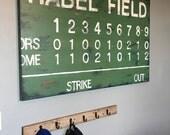 large modern nursery art- personalized scoreboard painting- single canvas- name monogram initials- vintage scoreboard  football baseball