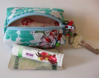 Tiny Zippered Fabric Boxy Keychain Bag Coin Purse Wallet Aqua Floral