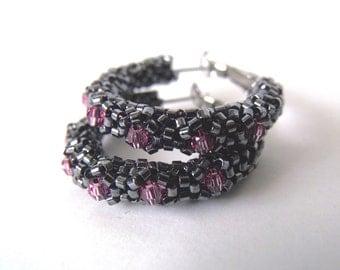 Beaded black hoop earrings   woven beaded black earrings   beaded crystal hoops   glass earrings   beaded black jewelry