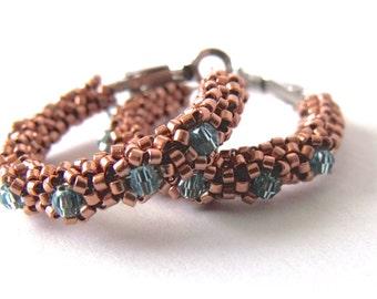 Seed beaded copper hoop earrings, woven beaded earrings, turquoise blue, copper beaded jewelry | glass crystal hoops