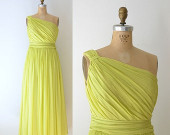 1940s Grecian Dress  / 40s 50s One Shoulder Chartreuse Chiffon Gown