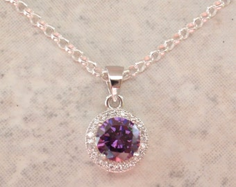 Amethyst CZ Necklace Sterling Silver 7mm Round Brilliand 18 Inch Chain Vintage V0802