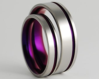 Wedding Bands , Titanium Rings , Promise Rings , The Cosmos Bands in Mystic Purple