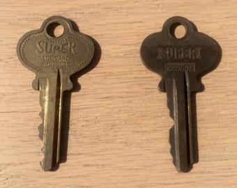 Two Vintage SUPER Brass Keys